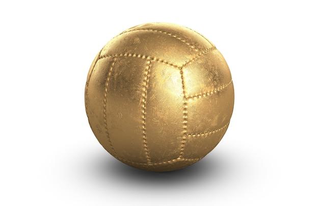 Ilustração 3d de vôlei dourado ou bola de futebol em branco