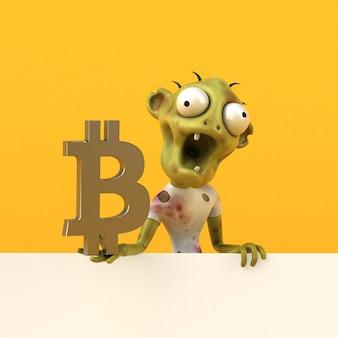Ilustração 3d de zumbi e bitcoin