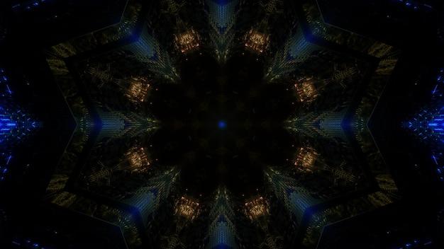Ilustração 3d design minimalista de fundo abstrato com luzes de néon douradas e azuis formando uma moldura em forma de círculo do túnel escuro