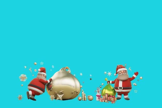 Ilustração 3d dia de natal com papai noel