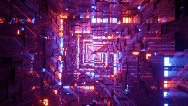 Ilustração 3d distorcida do corredor quadrado 4k uhd