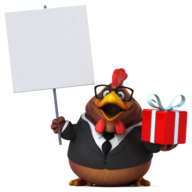 Ilustração 3d divertida com frango