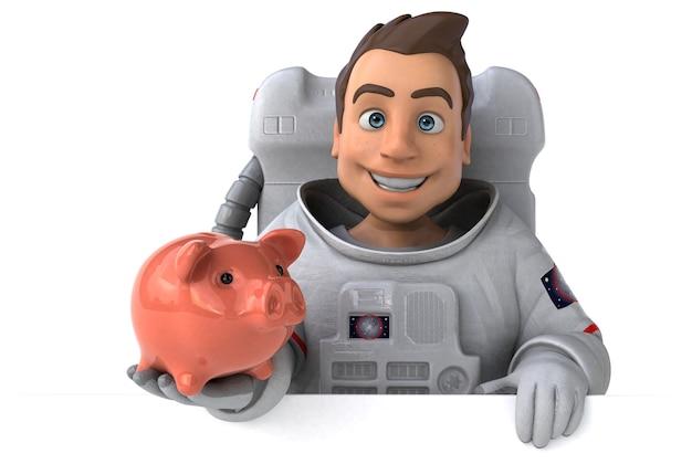 Ilustração 3d divertida de astronauta