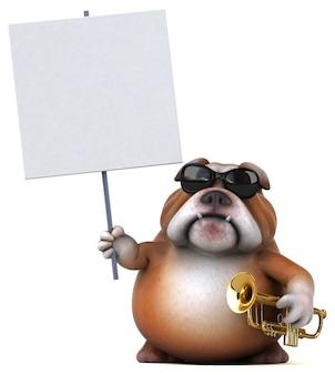 Ilustração 3d divertida de bulldog