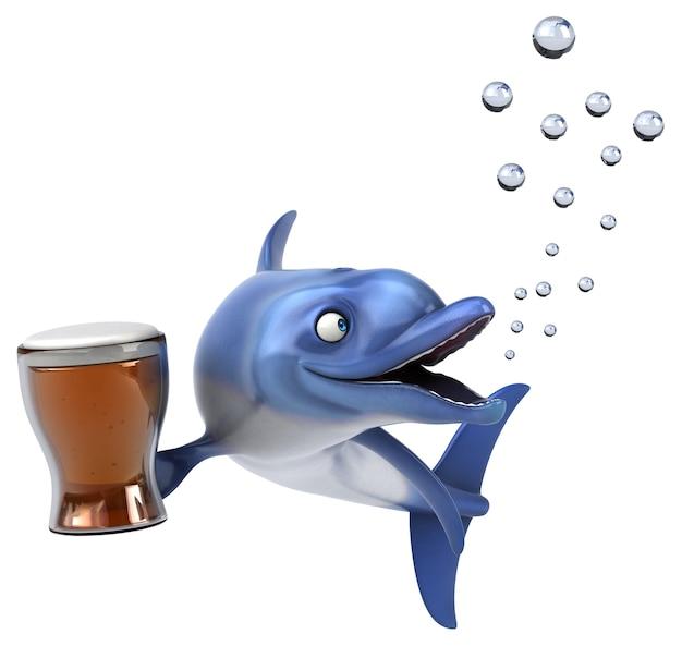 Ilustração 3d divertida de golfinhos