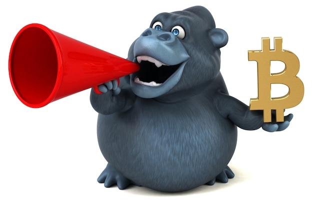 Ilustração 3d divertida de gorila