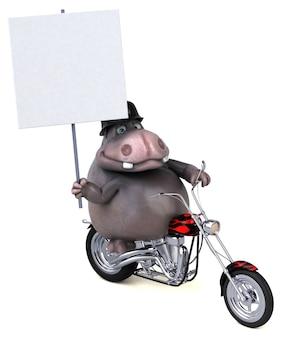 Ilustração 3d divertida de hipopótamo