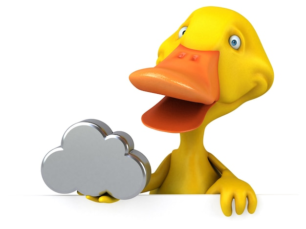 Ilustração 3d divertida de pato