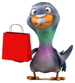 Ilustração 3d divertida de pombo