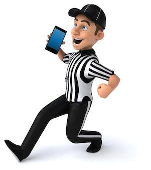 Ilustração 3d divertida de um árbitro americano com um smartphone