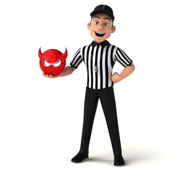 Ilustração 3d divertida de um árbitro americano Foto Premium