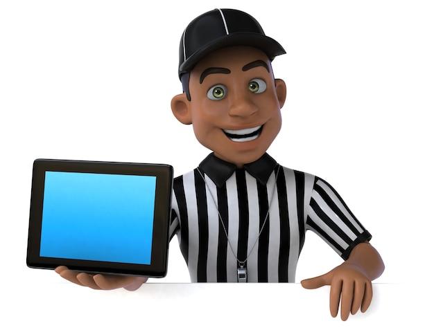 Ilustração 3d divertida de um árbitro americano