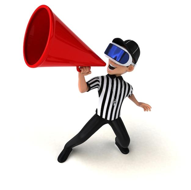 Ilustração 3d divertida de um árbitro com um capacete de realidade virtual
