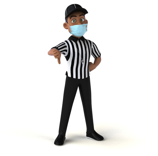 Ilustração 3d divertida de um árbitro negro com uma máscara