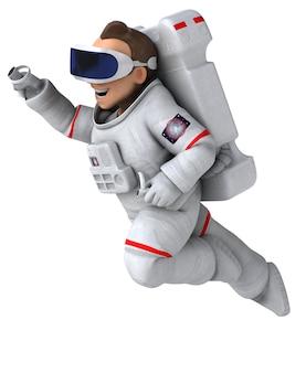 Ilustração 3d divertida de um astronauta com um capacete de realidade virtual