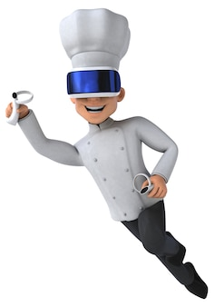 Ilustração 3d divertida de um chef com um capacete de realidade virtual