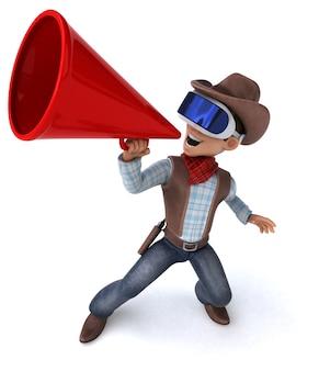 Ilustração 3d divertida de um cowboy com um capacete de realidade virtual