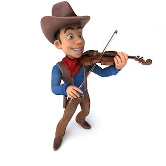 Ilustração 3d divertida de um cowboy de desenho animado