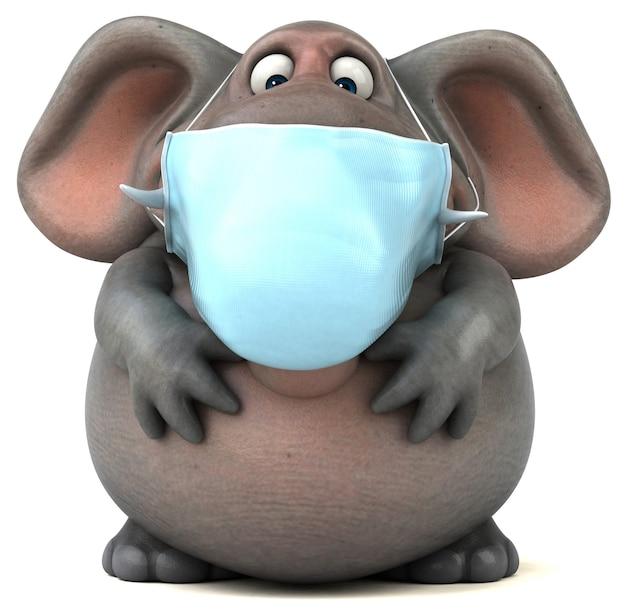 Ilustração 3d divertida de um elefante com uma máscara