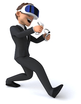 Ilustração 3d divertida de um empresário de desenho animado com um capacete de realidade virtual