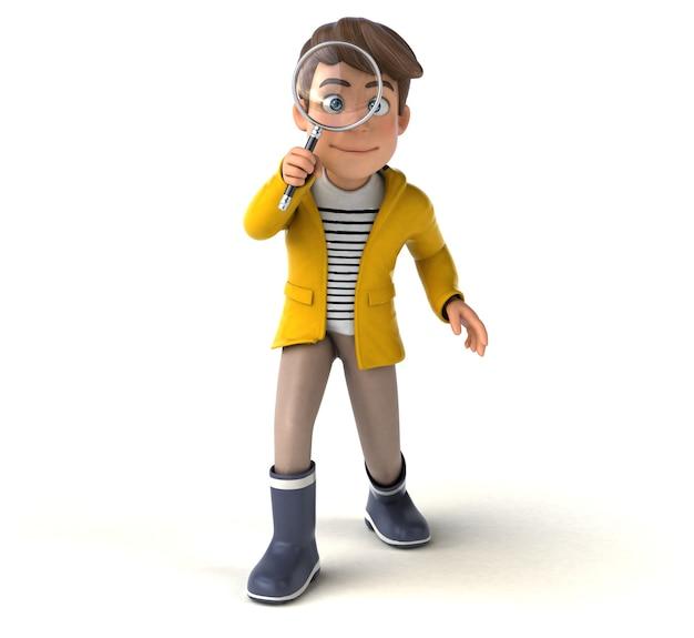 Ilustração 3d divertida de um garoto de desenho animado com capa de chuva