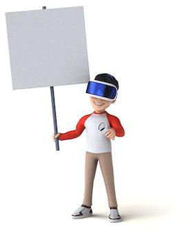 Ilustração 3d divertida de um garoto de desenho animado com um capacete de realidade virtual