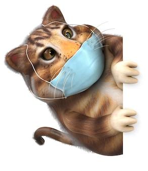 Ilustração 3d divertida de um gato com uma máscara