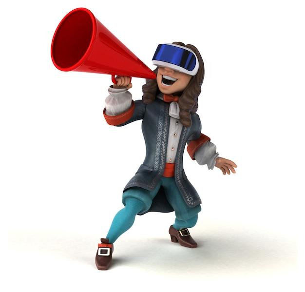 Ilustração 3d divertida de um homem com um capacete de realidade virtual