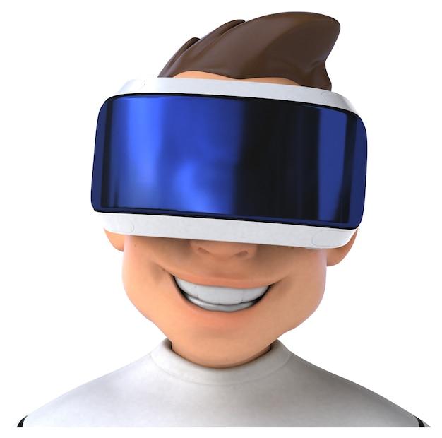 Ilustração 3d divertida de um homem de desenho animado com um capacete de realidade virtual