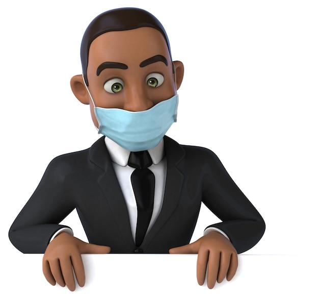 Ilustração 3d divertida de um homem de negócios negro com uma máscara