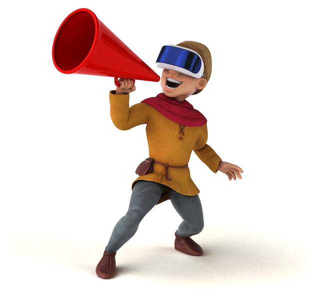 Ilustração 3d divertida de um homem medieval com um capacete de realidade virtual