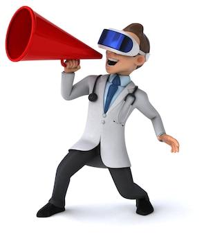 Ilustração 3d divertida de um médico com um capacete de realidade virtual