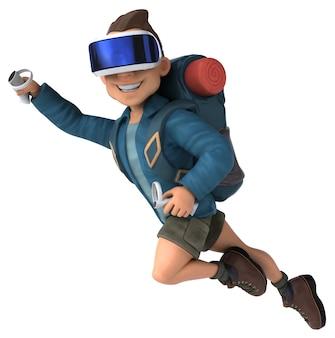 Ilustração 3d divertida de um mochileiro com um capacete de realidade virtual