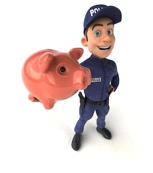 Ilustração 3d divertida de um policial de desenho animado