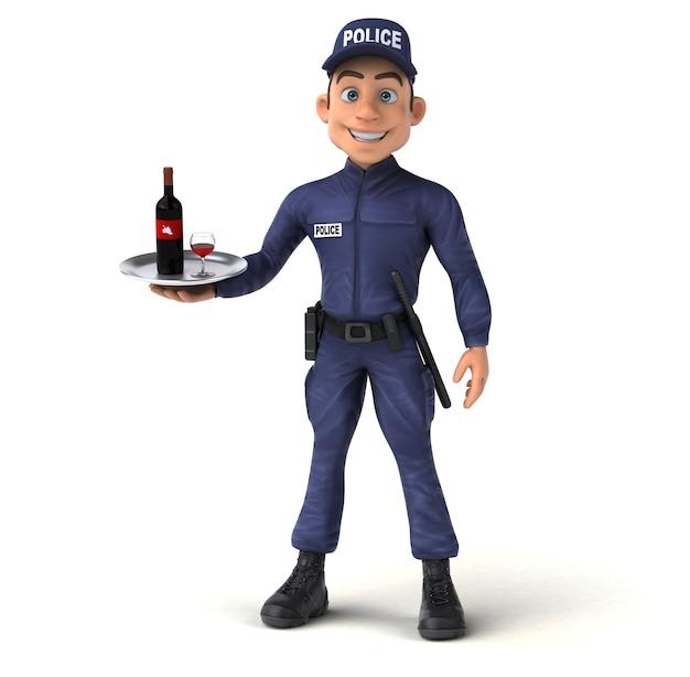Ilustração 3d divertida de um policial de desenho animado Foto Premium