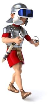 Ilustração 3d divertida de um soldado romano com um capacete de realidade virtual