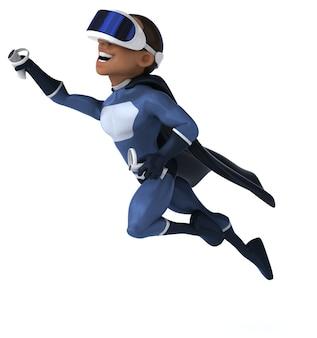 Ilustração 3d divertida de um super-herói com um capacete de realidade virtual
