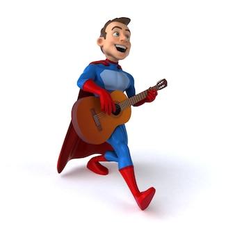 Ilustração 3d divertida de um super-herói divertido