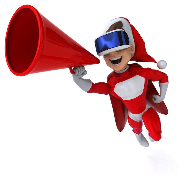 Ilustração 3d divertida de um super papai noel com um capacete de realidade virtual