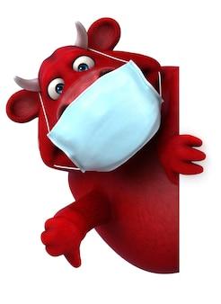 Ilustração 3d divertida de um touro vermelho com uma máscara