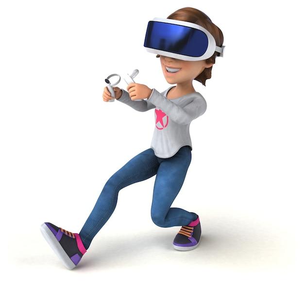Ilustração 3d divertida de uma adolescente com um capacete de realidade virtual