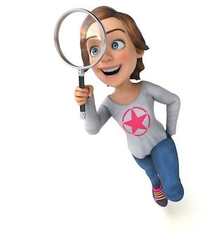 Ilustração 3d divertida de uma adolescente de desenho animado