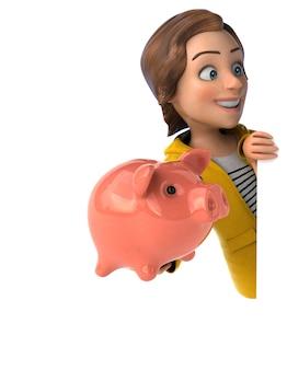 Ilustração 3d divertida de uma adolescente em desenho animado