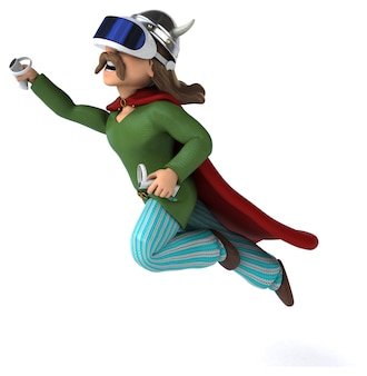 Ilustração 3d divertida de uma gaulesa com um capacete de realidade virtual