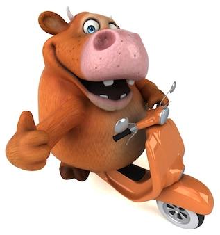 Ilustração 3d divertida de vaca