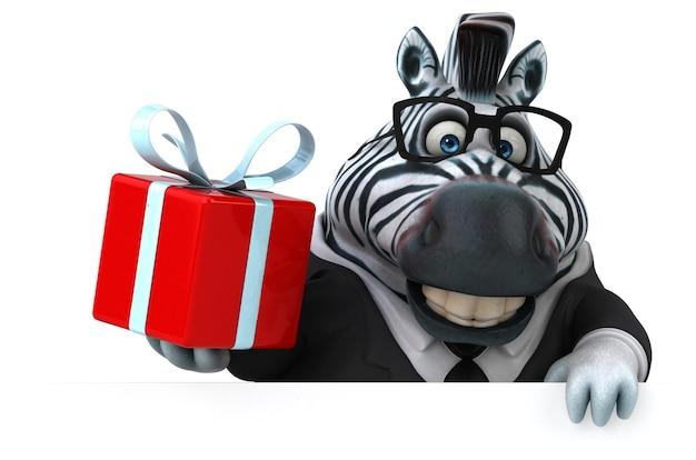 Ilustração 3d divertida de zebra