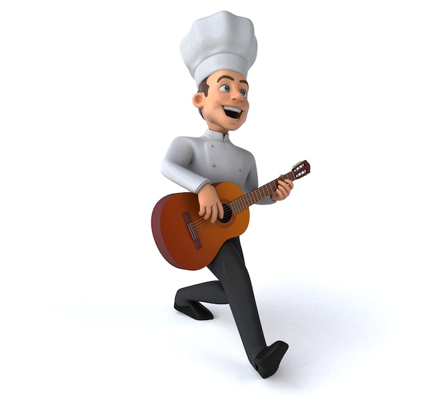Ilustração 3d divertida do chef