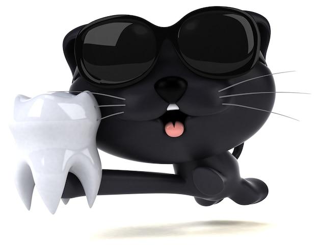 Ilustração 3d divertida do gato
