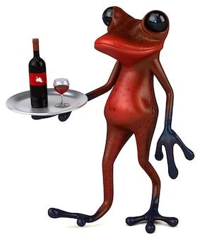 Ilustração 3d divertida do sapo vermelho
