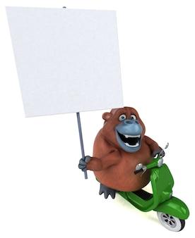 Ilustração 3d divertida orangotango